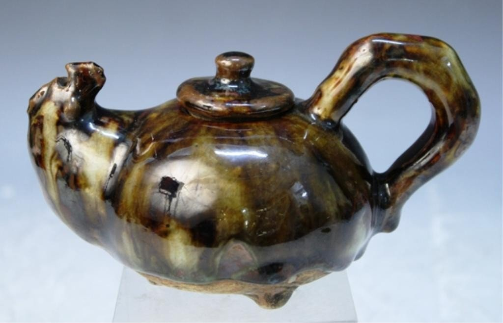 6: Chinese Copper Red & Teadust Ceramic Teapot