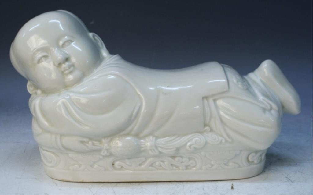 18: Chinese White Glaze Porcelain Child Pillow