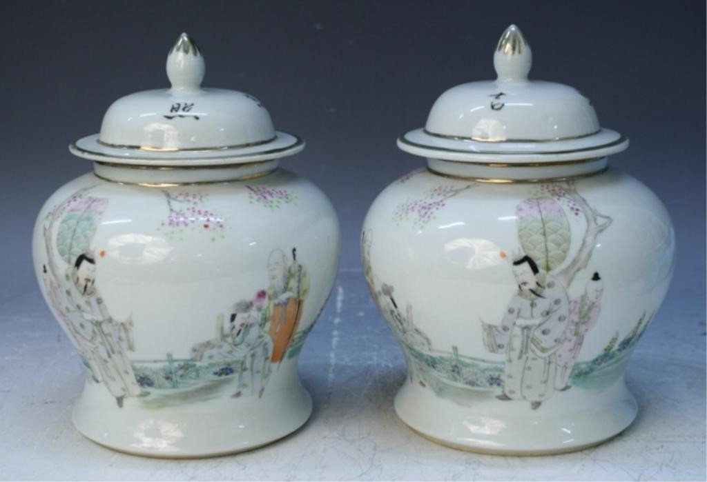 19: Chinese Pair of Porcelain Covered Jars w/ Figures