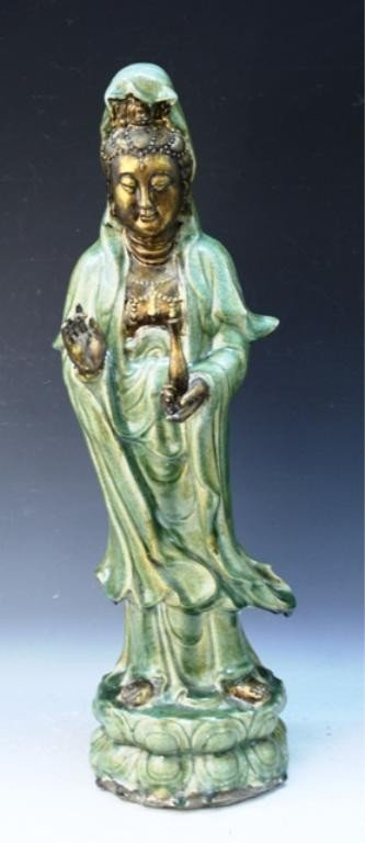 20: Large Chinese Gilt Celadon Guanyin