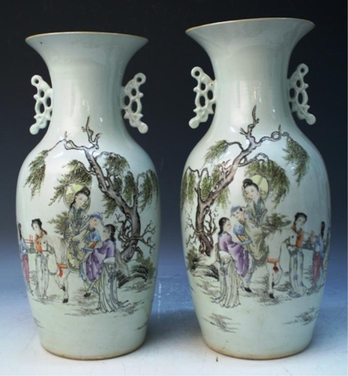 25: Pair of Chinese Porcelain Vases w/ Figures & Poem