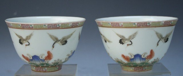 40: Chinese Pair of Porcelain Cups w/ Cranes
