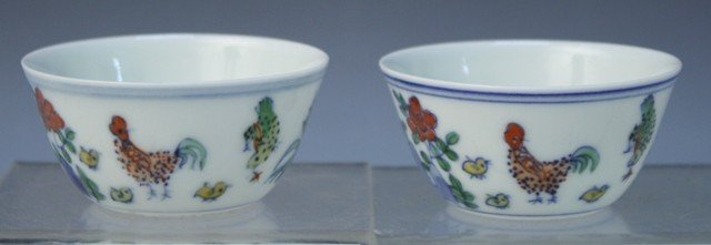 41: Chinese Pair of Porcelain Cups w/ Chickens