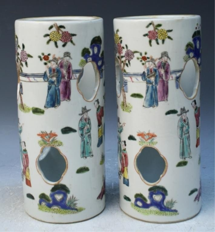 44: Chinese Pair of Famille Rose Porcelain Hat Stands