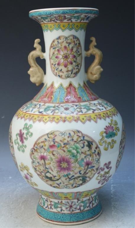 45: Chinese Famille Rose Porcelain Vase w/ Flowers