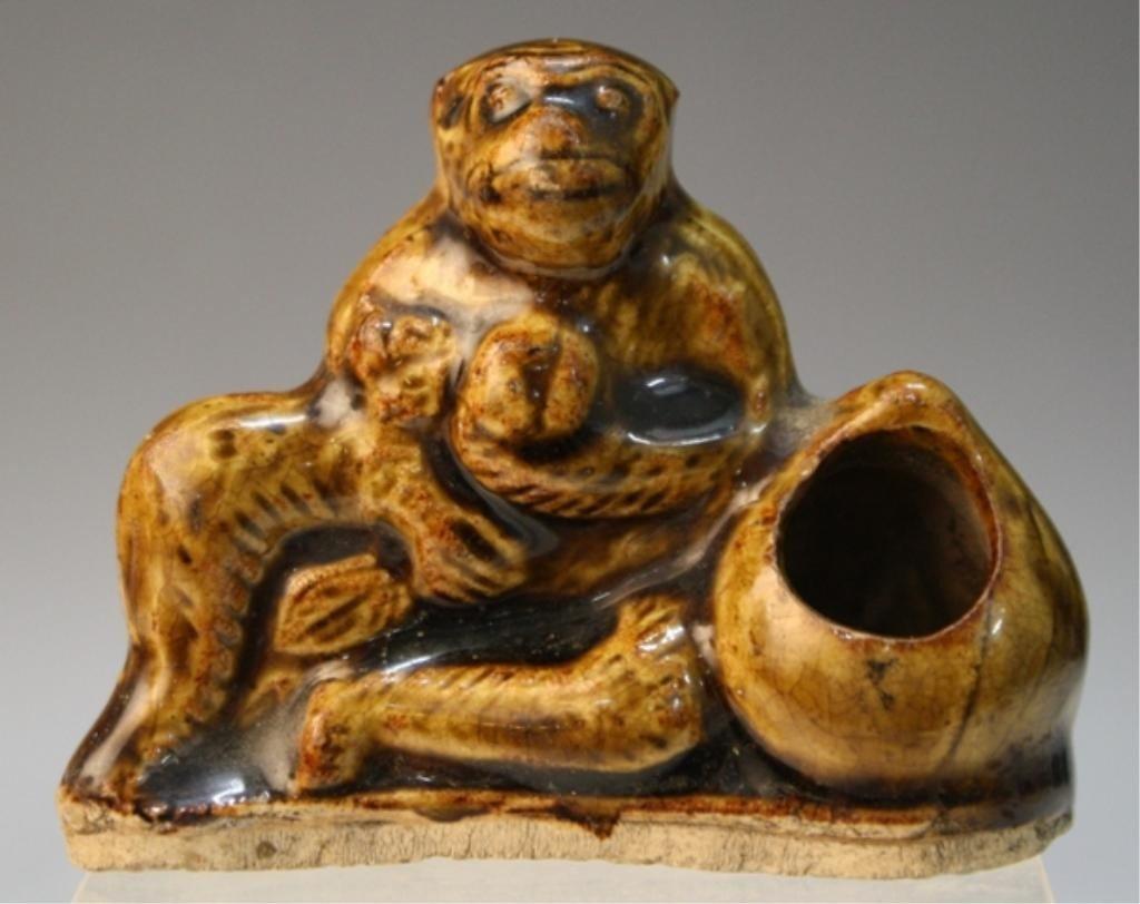 48: Chinese Brown-Glazed Monkey Brushrest Ming Dynasty