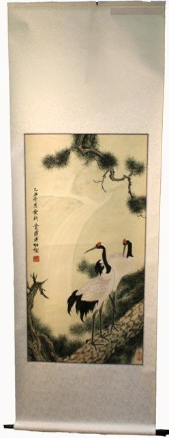 106: Chinese Scroll 2 Cranes aft Ai Xin Jue Luo Fu Zuo