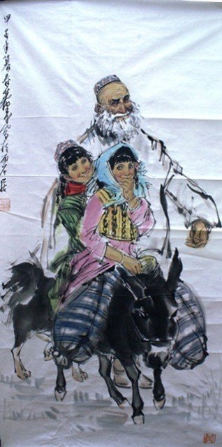 112: Chinese Unmounted Painting of Women aft Huang Zhou