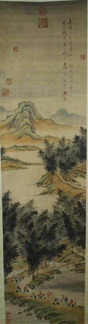 119: Chinese Landscape Scroll Painting after Wen Boren
