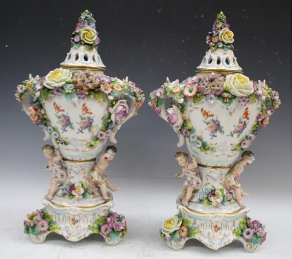 295: German Sitzendorf Porcelain Urn Pair Early 20th C