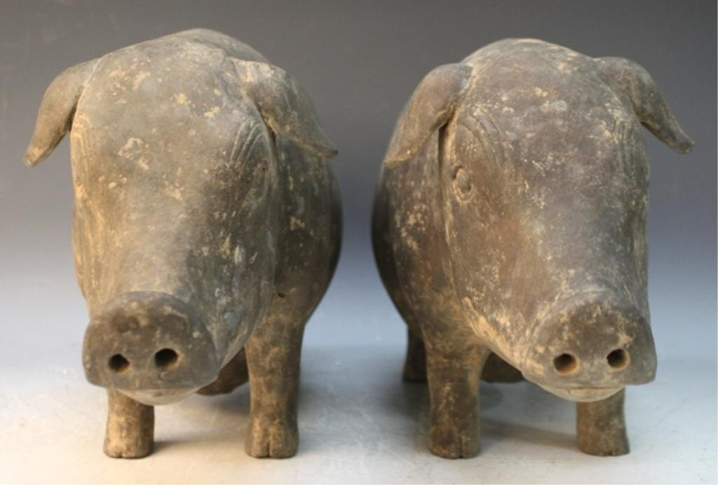 362: Pair of Chinese Pottery Pigs Han Dynasty