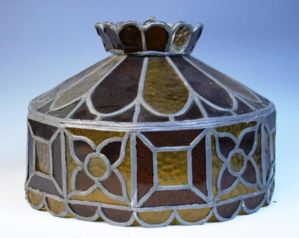 2: Orange & Brown Leaded Glass Lampshade