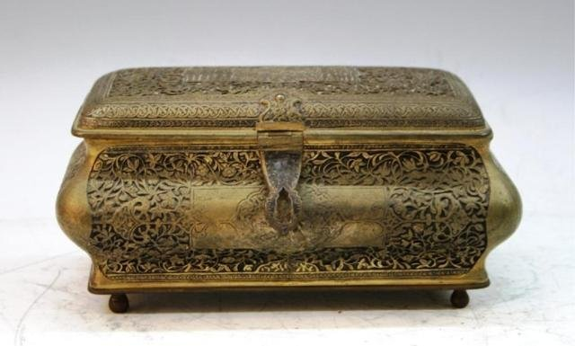 8: Bronze Box w/ Braided Patterns & Figures