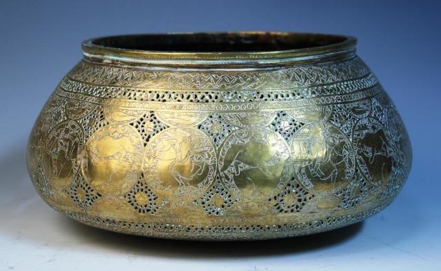9: Brass Persian-Style Vessel w/ Animals & Figures