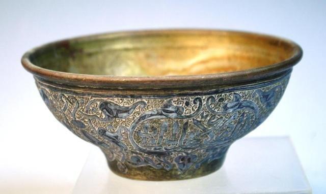 11: Small Metal Islamic Bowl w/ Calligraphy - 3