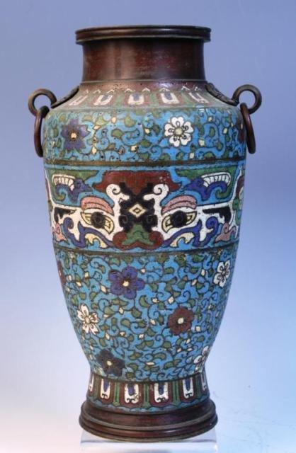 18: Cloissone-Style Vase w/ Metal Fastenings