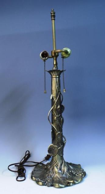20: Brass Lamp w/ Lily Pads & Lotus Flowers