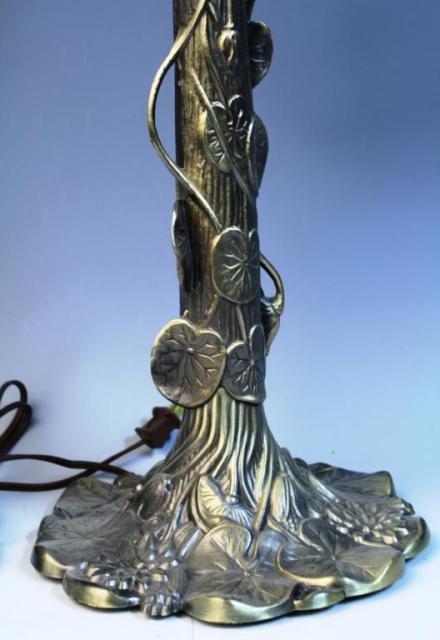20: Brass Lamp w/ Lily Pads & Lotus Flowers - 2