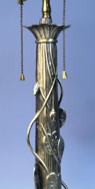 20: Brass Lamp w/ Lily Pads & Lotus Flowers - 3