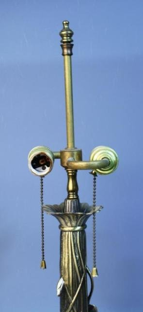 20: Brass Lamp w/ Lily Pads & Lotus Flowers - 4