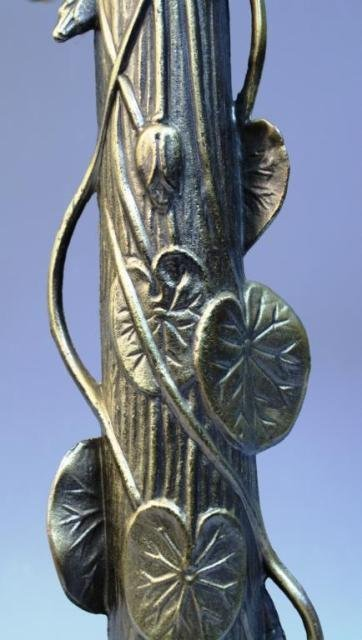 20: Brass Lamp w/ Lily Pads & Lotus Flowers - 9
