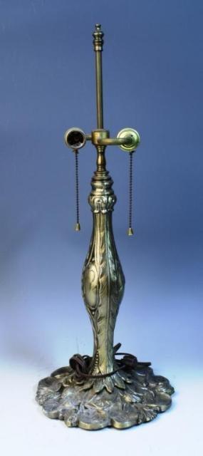 21: Brass Nouveau Lamp w/ Lily Pads & Reeds on Base
