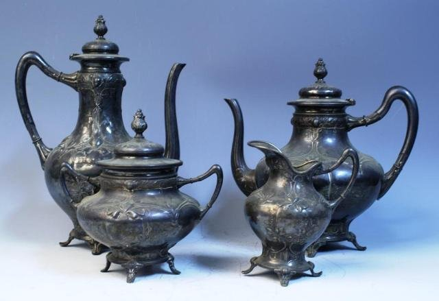 31: Nouveau 4 pc. WMF Pewter Tea Set