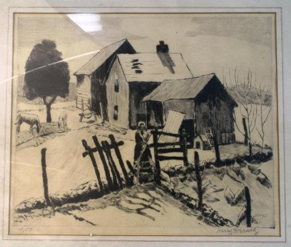 37: Harry Hering Etching of Farmhouse