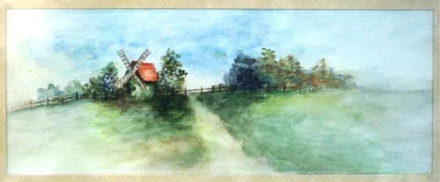 46: Watercolor Painting of Windmill
