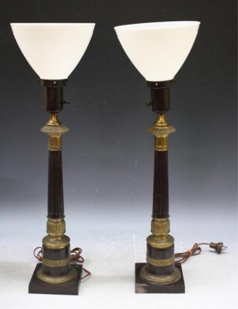 47: Pair of Column Shaft Lamps w/ Gilded Bases