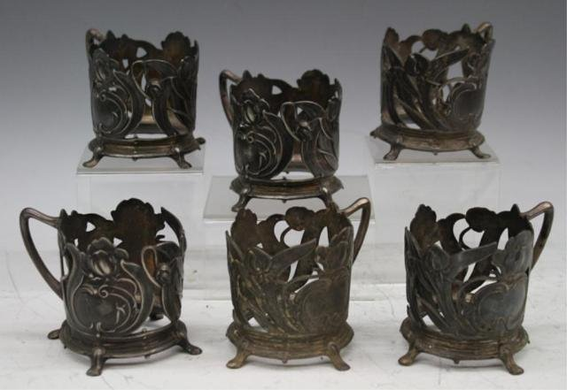 48: Set of 6 Pewter Nouveau Cup Holders