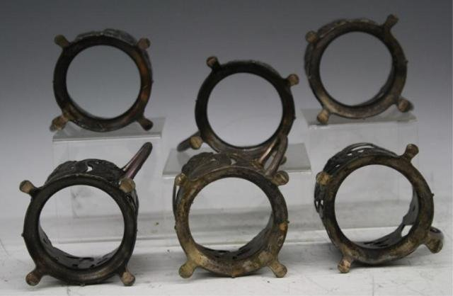48: Set of 6 Pewter Nouveau Cup Holders - 3