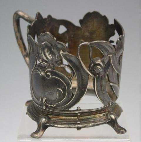 48: Set of 6 Pewter Nouveau Cup Holders - 4