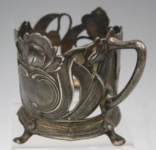 48: Set of 6 Pewter Nouveau Cup Holders - 6