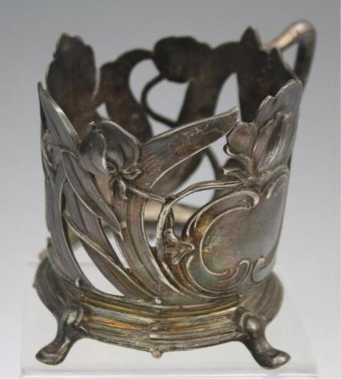 48: Set of 6 Pewter Nouveau Cup Holders - 7