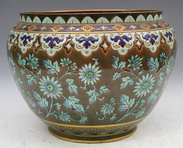 50: Large Sarreguemines Pottery Planter French