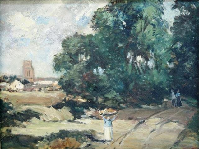101: Painting of Woman Carrying Basket in Countryside
