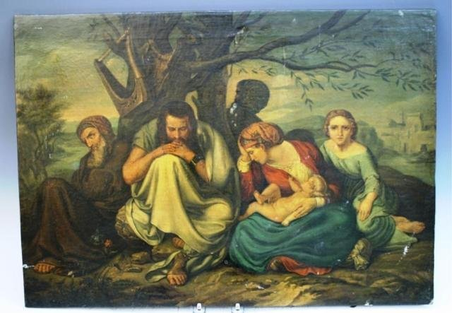 102: Panel Painting of Outdoor Seated Group