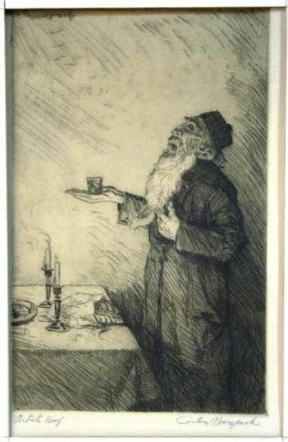 120: Carton Moore-Park Etching of Rabbi Blessing Wine
