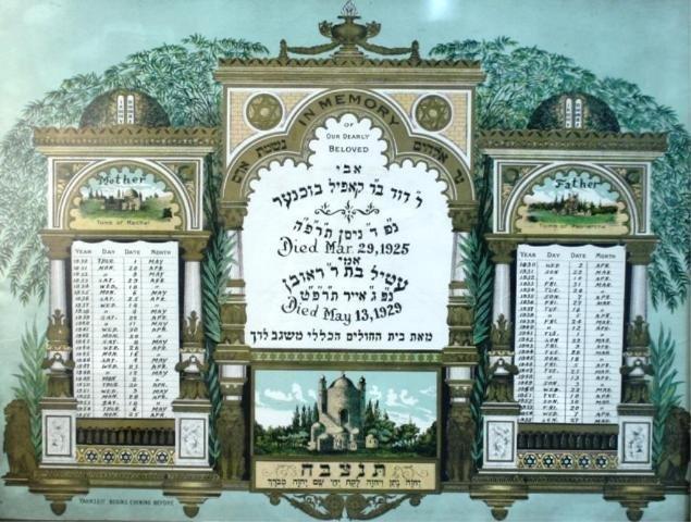 121: Framed Family Yahrzeit Calendar