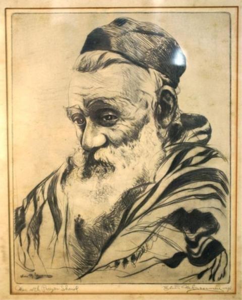 123: Elias M. Grossman, Man with a Prayer Shawl, Print