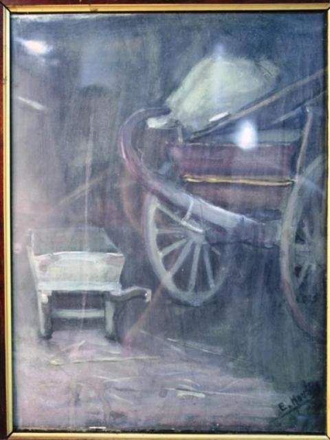 124: Watercolor of a Wheelbarrow and Carriage