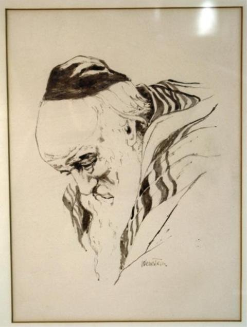 """127: Ink Drawing of a Rabbi, Signed """"Weinstein"""""""