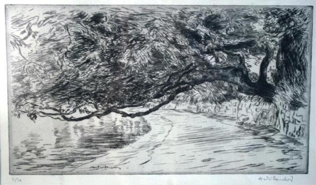128: Andre Dauchez Etching of a Coastal Landscape
