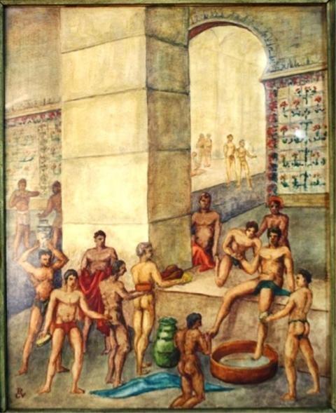129: Watercolor of Bathhouse Scene