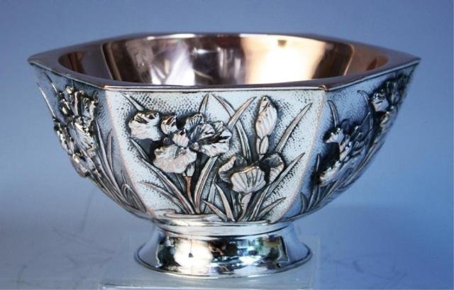 131: Chinese Export Silver Bowl with Irises