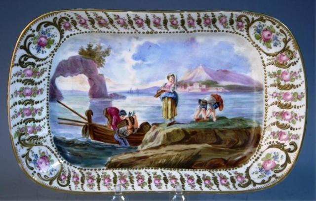 132: Meissen Porcelain Dressing Table Tray w/ Figures