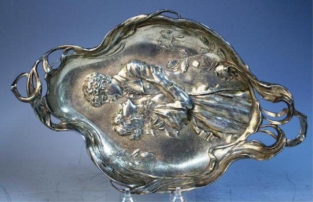 134: Metal Platter with Embracing Couple