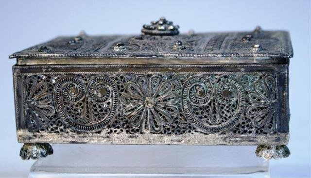 137: Silver Filigree Box with Personal Engraving 1933