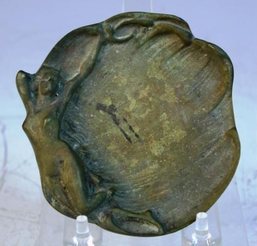 138: Small Bronze Art Nouveau Dish w/ Nude Woman